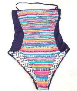 Anne Cole halter geometric pattern bathing suit.10